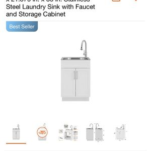 Glacier Bay All-in-One 24.125 in. x 21.375 in. x 35 in. Stainless Steel Laundry Sink with Faucet and Storage Cabinet for Sale in Commerce, CA