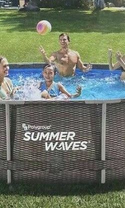 Summer Waves 14ft x 36 in Wicker Print Metal Frame Swimming Pool Ring Set Above Ground Pool W/ Filter, Pum And Ladder for Sale in Pomona,  CA