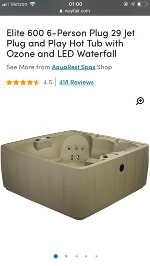 Elite 600 6-Person Plug 29 Jet Plug and Play Hot Tub with Ozone and LED Waterfall for Sale in Huntington Beach, CA