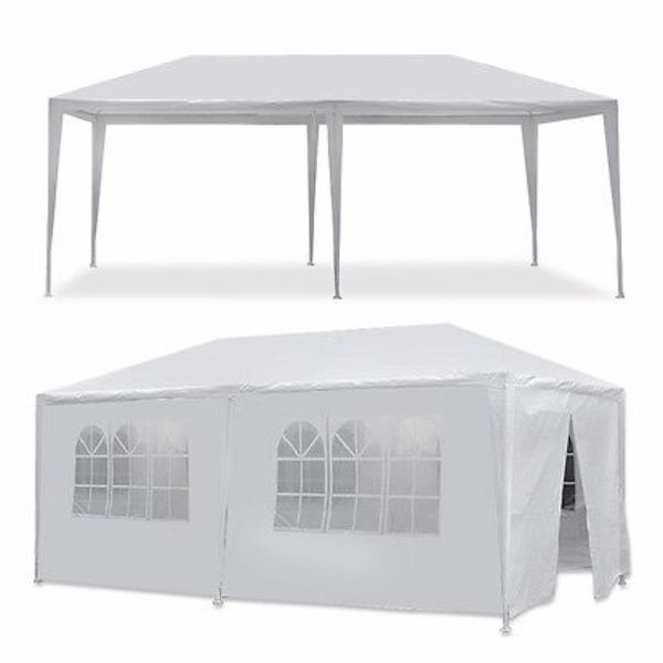 10'x20' White Waterproof Outdoor Gazebo Canopy Wedding Beach Party Tent 6 Removable Window Walls