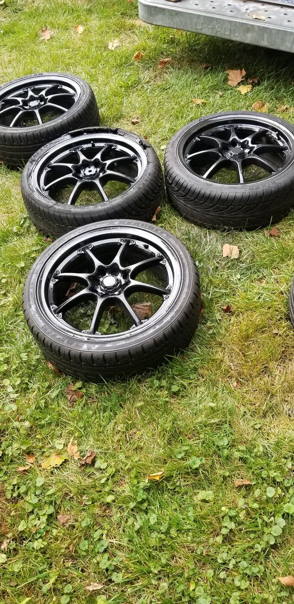 4 17in 4x100 4x114.3 4 lug universal wheels rims tires 4x114.3 4x100 205 40 17