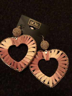 nOir heart earrings with cubic zircon for Sale in Manassas, VA