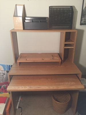FREE Wooden desk with shelf, keyboard tray, and organizers for Sale in Piedmont, CA