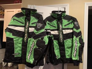 Arctic Cat Snowmobile Jackets, Both Adult Large, Arctic Cat & Cat Pride Hats, 4 Balaclava Face Masks and Under Helmet Liners. Excellent Condition for Sale in Portland, OR