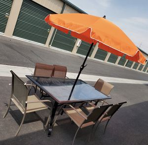 8 piece outdoor patio set furniture with new umbrella FREE DELIVERY WITHIN 5 MILES for Sale in Las Vegas, NV