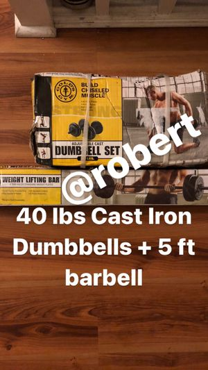 40 lbs Adjustable Dumbbells with 5 ft barbell for Sale in Milpitas, CA