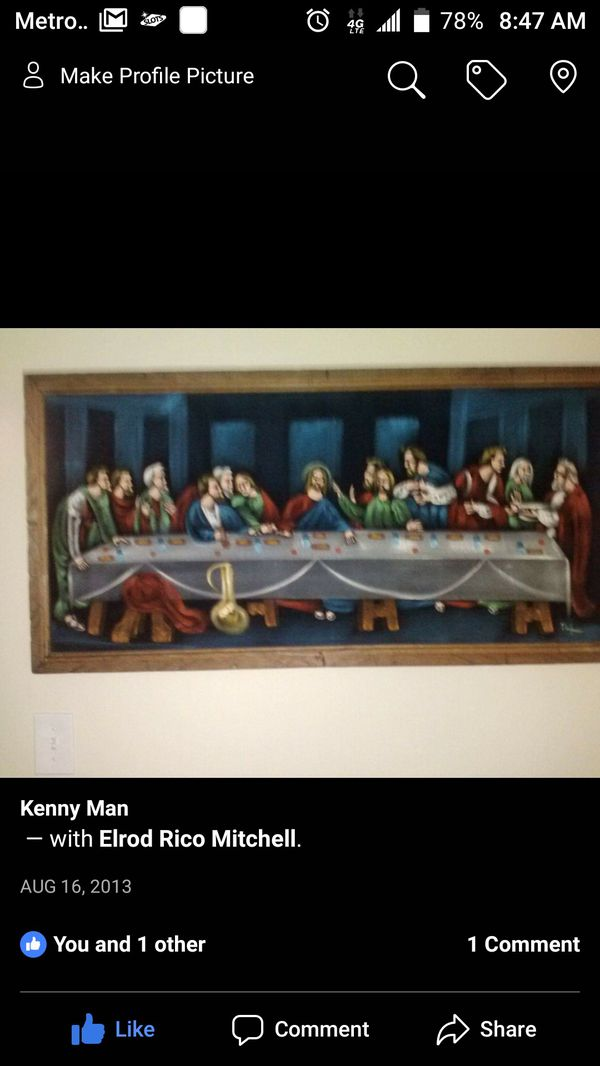 Last supper painting with Mary