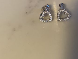 Pave Diamond and White Gold Open Heart Earrings for Sale in Bedford,  MA