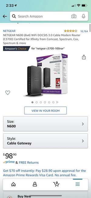NETGEAR N600 (8x4) WiFi DOCSIS 3.0 Cable Modem Router for Sale in Beaverton, OR