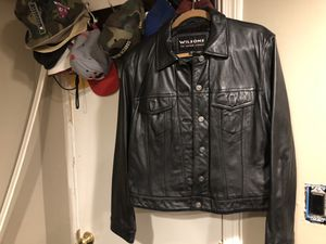 Black Wilson leather motorcycle jacket in good condition. Negotiable offers accepted size xl for Sale in Washington, DC