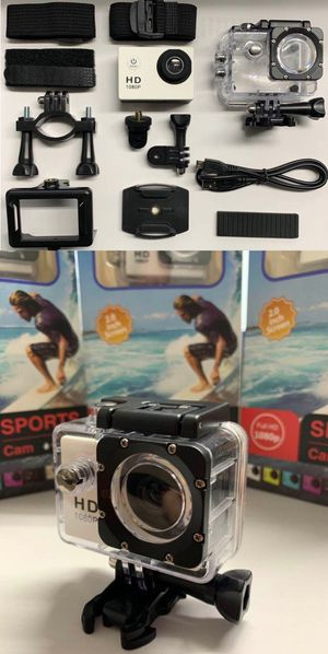 New in box Cobra Adventure HD sports generic gopro style camera cam 1080p water proof with lcd screen includes accessories for Sale in El Monte, CA