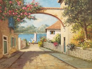 Mother's Day gift, mom, Fatoni Village, Landscape, Seascape oil painting, villa, sailboat, lane to beach, sailing, seashore, flowers, sea, signed for Sale in Bozman, MD