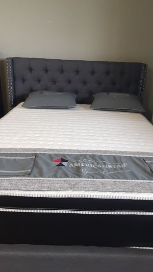 Queen size Dark grey bed w/mattress and FREE DELIVERY for Sale in Irving, TX