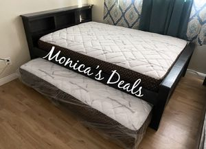 Full size solid wood bed & twin roll out $380 for Sale in Hawthorne, CA