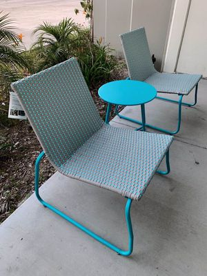 New in box Grand Patio 3 pc all weather rattan blue color chair size 25x28x30 inch tall table 18x18x18 inches tall furniture set for Sale in Whittier, CA