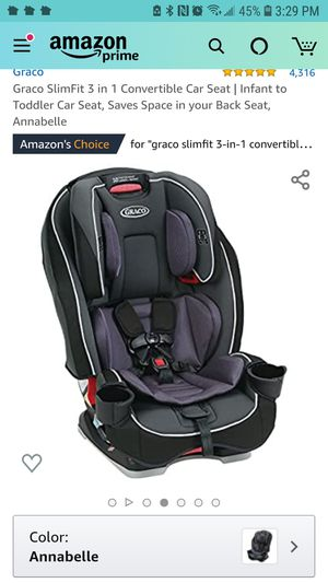 Graco SlimFit 3 in 1 Convertible Car Seat |THIS IS $160 ON AMAZON ITS BRAND NEW, Infant to Toddler Car Seat, Saves Space in your Back Seat, Annabelle for Sale in Los Angeles, CA