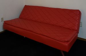 Futon red synthetic leather great condition for Sale in Denver, CO