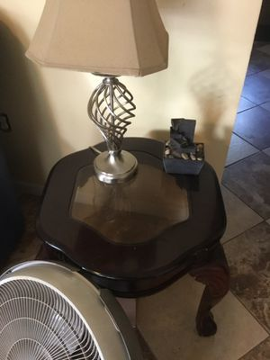 Very nice 2 end tables $85, patio doors $90, dish set for 4 with table runner, place mats, candles and more, shed $150, patio doors $90 for Sale in Georgetown, GA