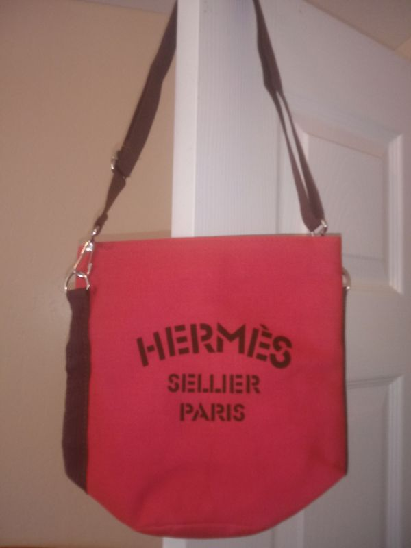 Brand New Hermes Sellier Paris Canvas Bag Sz Small (Pink) $35