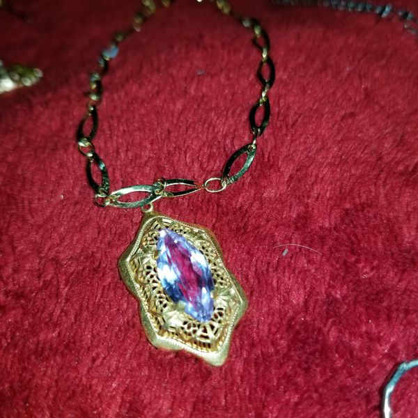 Antique Gold and Blue Topaz Pendent