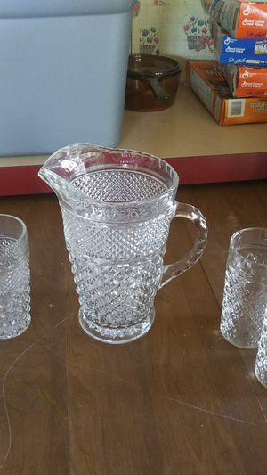 Crystal set pitcher and 5 glasses for Sale in Newport, PA