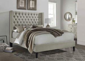 Brand New Beige Linen Fabric Platform Bed Frame for Sale in Montclair, CA