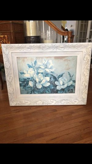 "44""X32"" A gorgeous Large signed flower painting in A Antique white distressed finish wooden frame for Sale in Gainesville, VA"