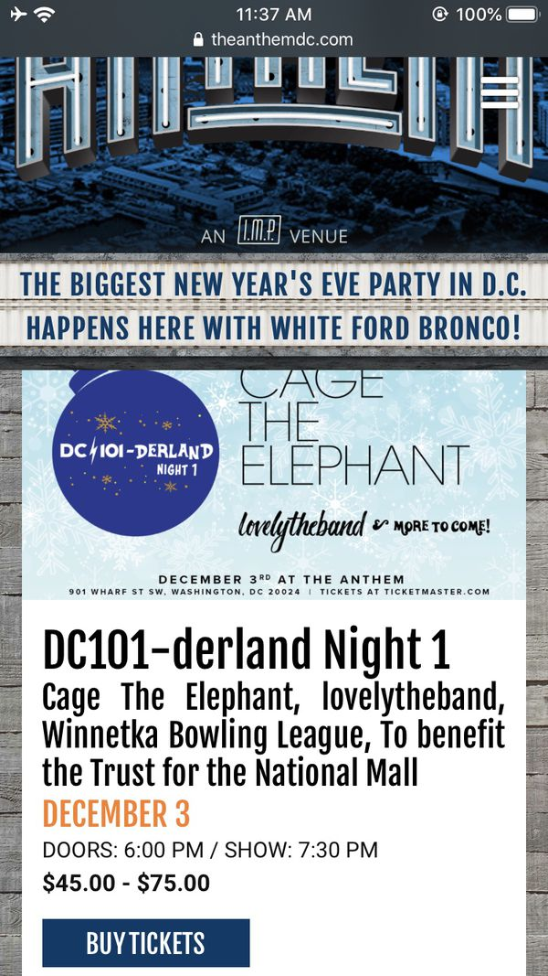 Cage the Elephant and Lovely the Band @ the Anthem Tuesday, December 3rd.