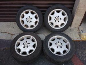 Factory aluminum 15 inch Mercedes rims with tires 5 on 112mm for Sale in Montebello, CA