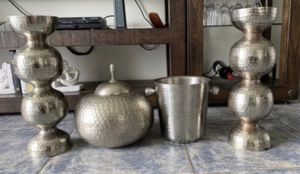 Vintage look set of candle holders, ice bucket and home accessories for Sale in Miami Beach, FL