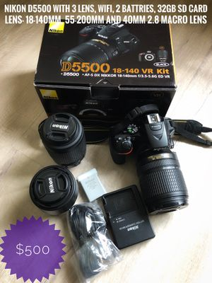 Nikon D5500 with 3 lenses for Sale in Princeton, NJ
