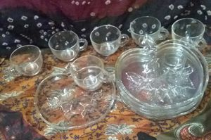 Vintage Set of 6 Fancy Snack trays with cups $20 for Sale in Ontario, CA