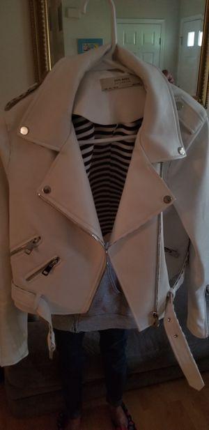 Expat sale Zara faux leather jacket white excellent condition for Sale in Arlington, VA