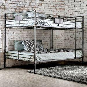 INDUSTRIAL ANTIQUE BLACK FINISH QUEEN OVER QUEEN SIZE BUNK BED for Sale in Riverside, CA