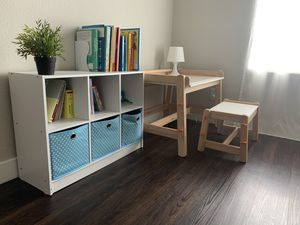 IKEA kids adjustable desk and bench with storage shelf for Sale in Sunnyvale, CA