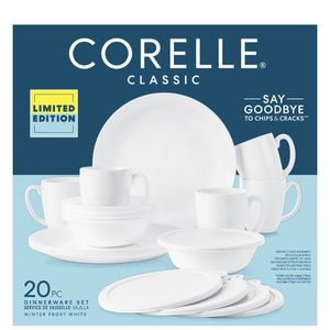 Corelle Winter Frost White 20-piece Dinnerware Set, Service for 5 for Sale in Milford Mill, MD