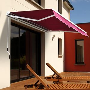 New in box Manual Patio 10 feet wide × 8' Retractable Sunshade Awning deck cover sun block canopy shade burgundy red toldo mounting hardwares include for Sale in Covina, CA