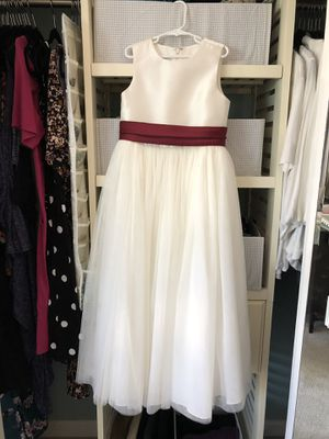 Ivory Flower Girl Dress with Burgundy Sash for Sale in Escondido, CA