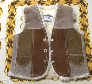Genuine leather kids vest button up for size 12 brown tan made in Mexico for Sale in Selma, CA