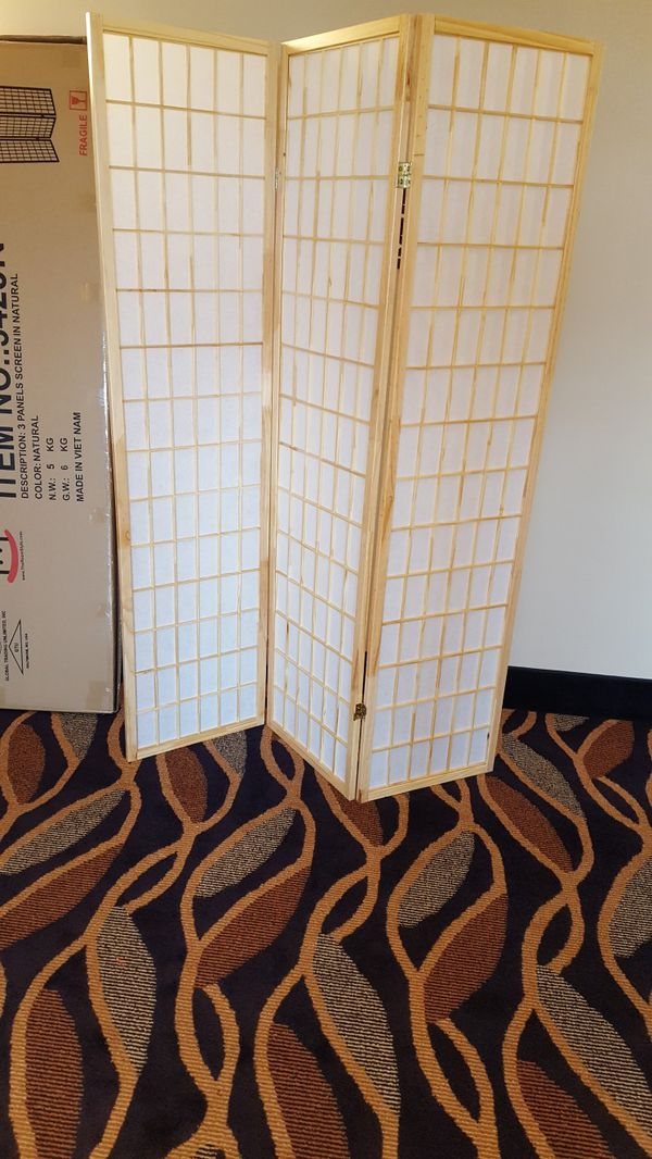 Brand New 3 Panel Natural Wood Room Divider