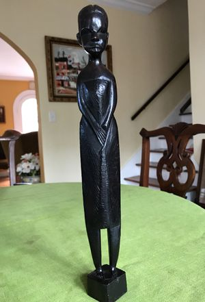 African carved wood woman statue standing 14 inches tall with a dark finish for Sale in West Palm Beach, FL