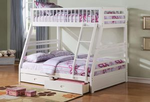 Twin/Full Bunk Bed AND Drawers - 37040 - White TI for Sale in Pomona, CA