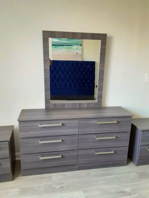 New grey mirror dresser and one nightstand for Sale in Pompano Beach, FL