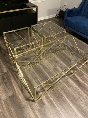 Gold 3 Pieces Coffee Table End Table Set for Sale in Lanham, MD