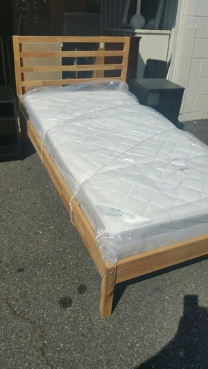IKEA LIKE NEW TWIN SIZE BED AND SULTAN HANESTAD MATRES for Sale in Fairfax, VA