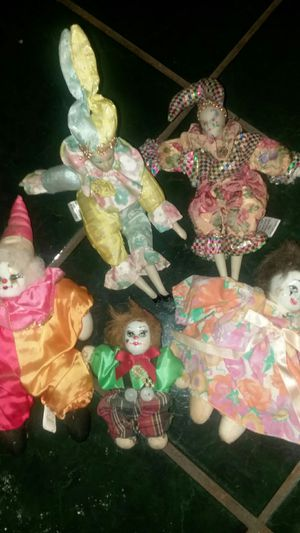 Antique clown and jester dolls for Sale in Winston-Salem, NC