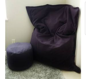 Fatboy Canvas Bean Bag Chair & Ottoman Pouf - Navy Blue for Sale in Cape Coral, FL