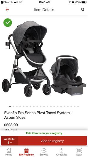 Stroller car seat combo Evenflo pro series pivot travel system for Sale in Takoma Park, MD