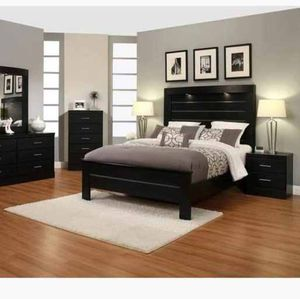BRAND NEW 4 PC QUEEN SIZE BEDROOM SET BED DRESSER MIRROR NIGHTSTAND NEW FURNITURE ADD MATTRESS AVAILABLE USA MEXICO FURNITURE for Sale in Pomona, CA