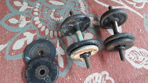 Barbells/dumbbells 50 lbs in weights and hand bars included for Sale in Glendora, CA